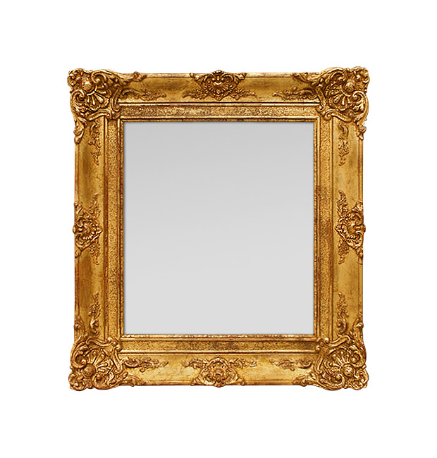Antique gold wall mirror, French Restoration period.