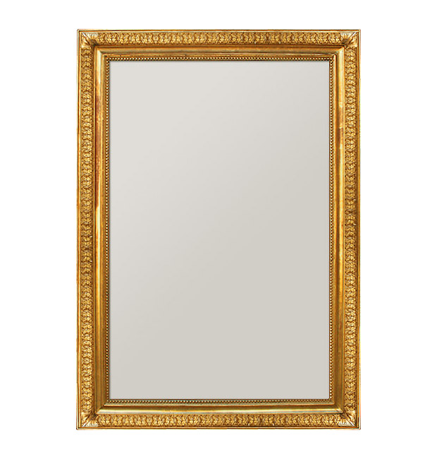 Large antique gilt mirror, gold leaf