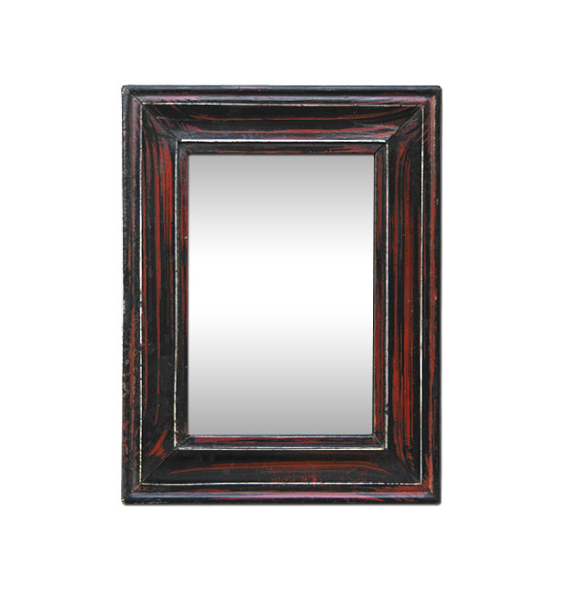 Small antique mirror circa 1880 faux-wood painted mahogany wood