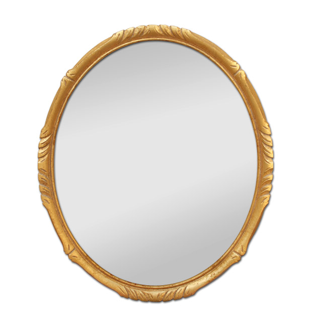 Small gilded oval mirror, antique mirror style Montparnasse circa 1950