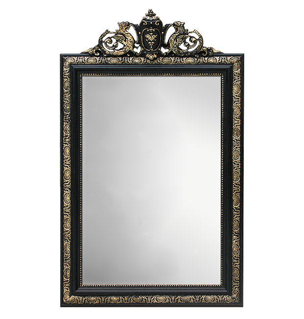 Antique french mirror Napoleon III style, black and gold