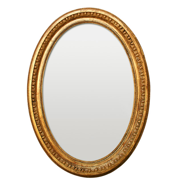 Antique gold oval mirror, 19th century
