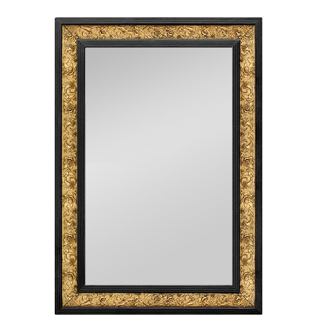 Antique mirror modern-style, circa 1910, black and gold