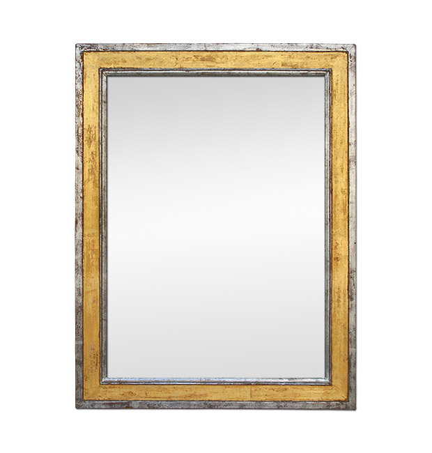 Antique mirror silvered and gold patinated