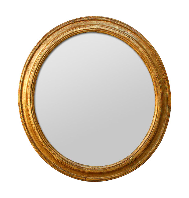 Antique round mirror ,carved gilded wood