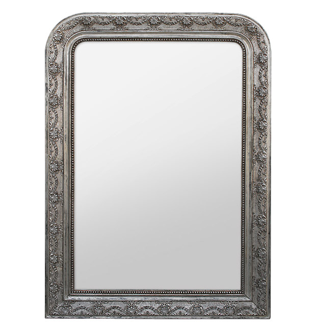 Antique silver wood Louis-Philippe mirror