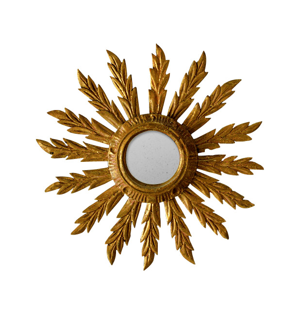 Antique sunburst mirror, giltwood round mirror