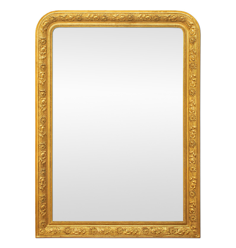 Large antique giltwood wall mirror
