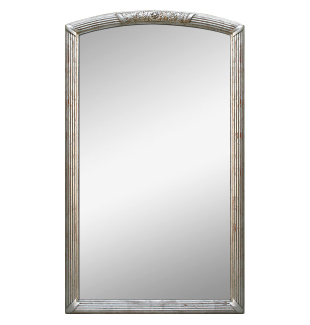 Large silver Art Deco antique mirror
