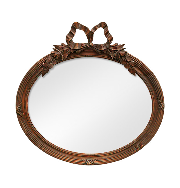 Antique oval carved wood mirror