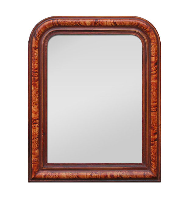 Small antique mirror Louis Philippe style,faux wood painted
