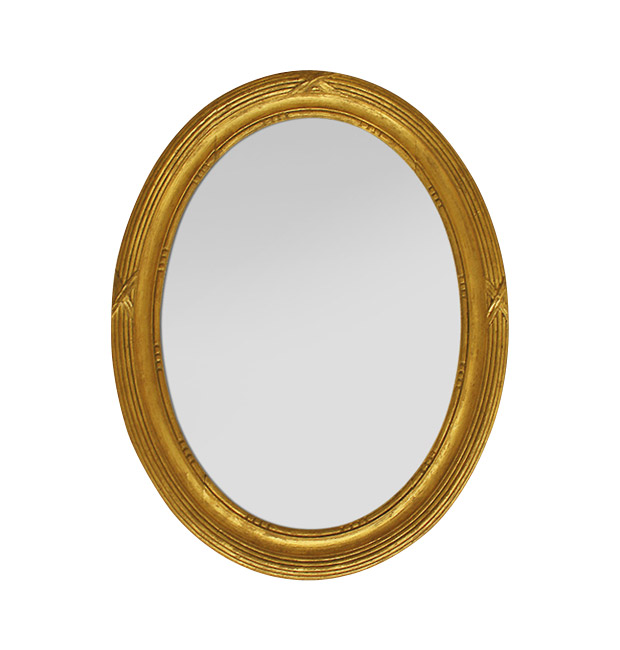 Small antique oval mirror in gilded wood