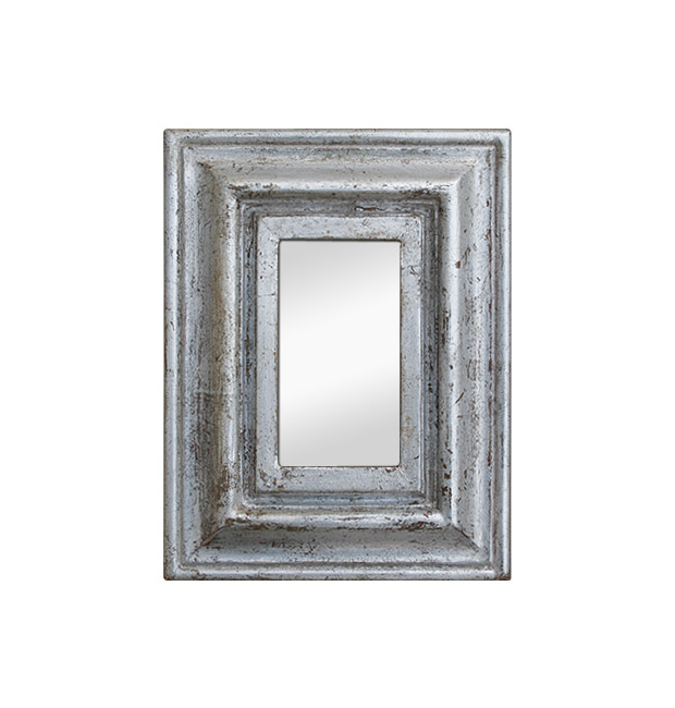 Small antique silver mirror patinated 1950s
